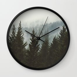 Wanderlust Forest II - Mountain Adventure in Foggy Woods Wall Clock
