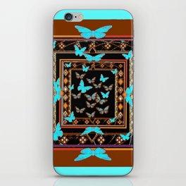 Turquoise-Chocolate Brown Western Art iPhone Skin