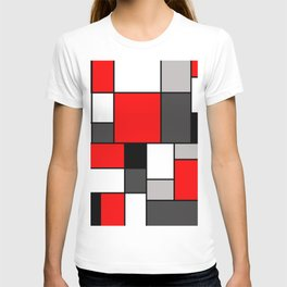 Red Black and Grey squares T-Shirt
