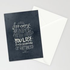 For every minute you are angry you lose sixty seconds of happiness  Stationery Cards