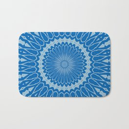 Electric Blue Lemonade and Aquamarine Duo Tone Mandala Bath Mat