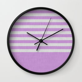 Violet and gray color block and stripes Wall Clock