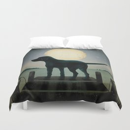 Black Dog Labrador Lake Dock Moon Cottage Cabin Duvet Cover