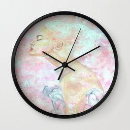 Pink Abstract Proflie Wall Clock