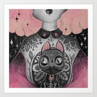 loll3 Art Prints featuring Black Cat by lOll3