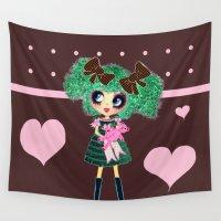 lolita Wall Tapestries featuring Kawaii Girl PinkyP Cute Chocolate heart Lolita by LeahG PinkyP creator