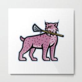 Bobcat or Lynx Lacrosse Mascot Metal Print