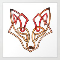 celtic Art Prints featuring Celtic fox - celtic knot by Ioreth