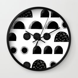 Linocut black and white minimal shapes half moons mounds abstract Wall Clock