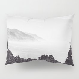 Beautiful ocean view with forest front view at Big Sur, California, USA in black and white Pillow Sham