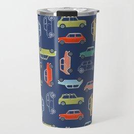 Colorful Mini Coopers on Blue Travel Mug