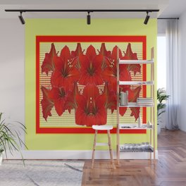 YELLOW CONTEMPORARY CLUSTER RED AMARYLLIS FLOWERS Wall Mural