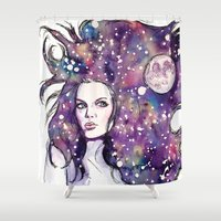 the moon Shower Curtains featuring moon by Beth Jorgensen