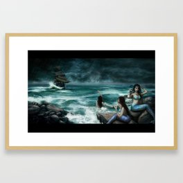 Sirens on the Rocks Framed Art Print