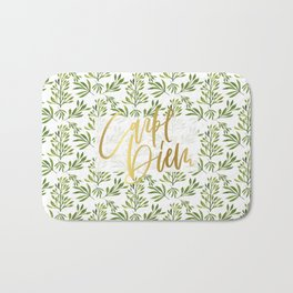 carpe diem - gold foil with green foilage Bath Mat