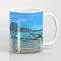 philippines Mugs featuring Palawan Beach Philippines by Clive Eariss