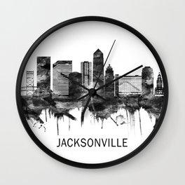 Jacksonville Florida Skyline BW Wall Clock