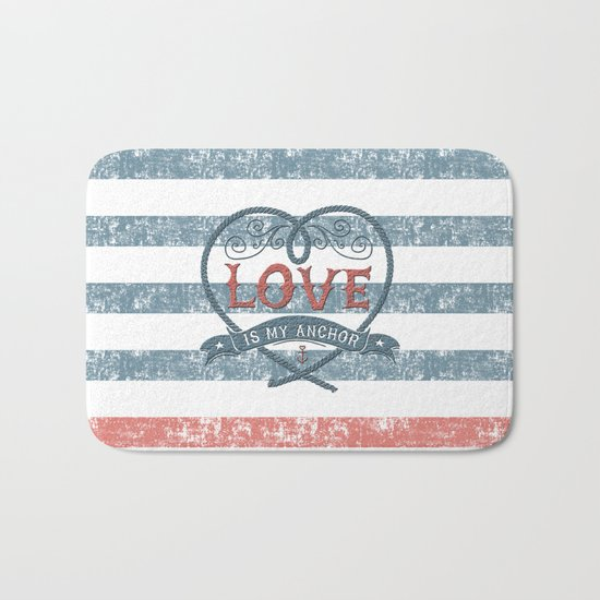 Maritime Design- Love is my anchor on navy blue and red striped background Bath Mat