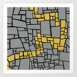 Crazy Paving Yellow Road Art Print