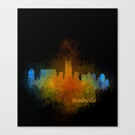 Nashville city skyline Tennessee watercolor v4 Dak Canvas Print