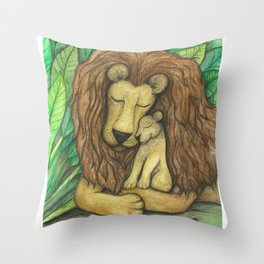 Lion and Cub Throw Pillow