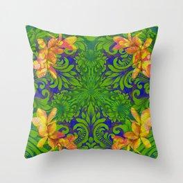 Lush Floral Plumeria Mandala Throw Pillow