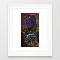 thanos Framed Art Prints featuring Marvel Thanos Infinity Gauntlet by Adam Worley