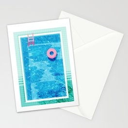 Chillin' - poolside palm springs vacation resort tropical swim swimming retro neon throwback 1980s Stationery Cards