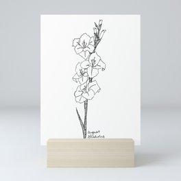 August Gladiolus Art Print / Birth Flower  / Botanical Art  / August Birthday / Black and White Mini Art Print
