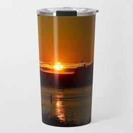 Sunset Over Columbia River At Astoria Harbor Travel Mug