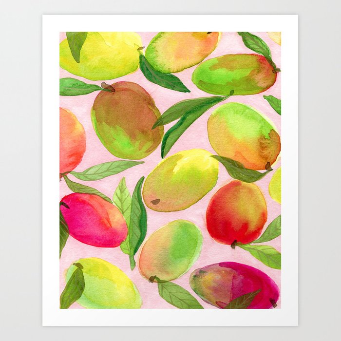 Mango Watercolor Painting Art Print