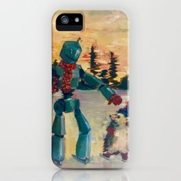 Robot iceskating with hedgehog iPhone Case