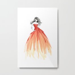 Coral ombre fashion illustration Metal Print