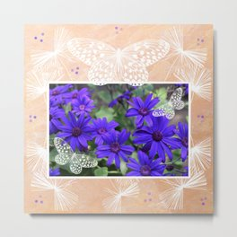 Purple Flowers and Butterflies Metal Print