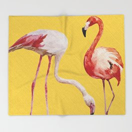 Bold Flamingo Caribbean and Tropical inspired design Throw Blanket