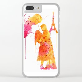 Watercolor Love Couple in Paris Clear iPhone Case