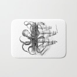 Octopus Attacks Ship on White Background Bath Mat