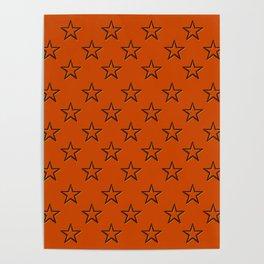 Orange stars pattern Poster