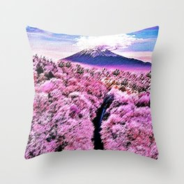 Cherry blossoms in full bloom with snow-capped Mount Fuji of Japan Landscape by Jéanpaul Ferro Throw Pillow