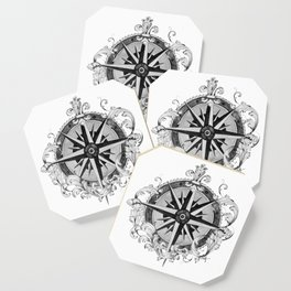 Black and White Scrolling Compass Rose Coaster