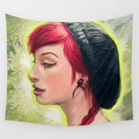 hat Wall Tapestries featuring Hat girl by Aye!