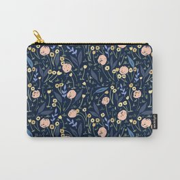 Ditsy Floral Blue and Pink Pattern Carry-All Pouch