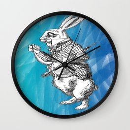 White Rabbit from Alice in Wonderland in Blue Watercolor Background Wall Clock