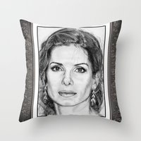 sandra dieckmann Throw Pillows featuring Sandra Bullock in 2005 by JMcCombie