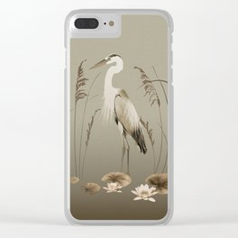 Heron and Lotus Flowers Clear iPhone Case