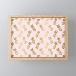 Pink & Gold Pineapples Framed Mini Art Print