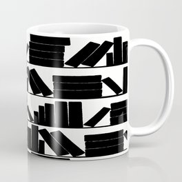 Library Book Shelves, black and white Coffee Mug
