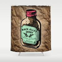 roller derby Shower Curtains featuring Back Alley Roller Derby Old School by LucyDynamite