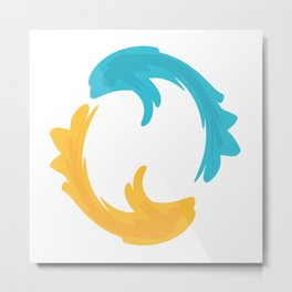 Blue and yellow fish in circle Metal Print