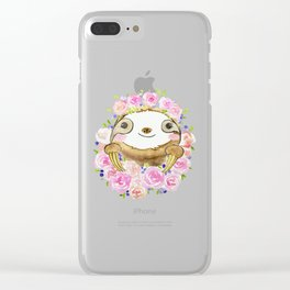 Happy Little Watercolor Sloth With Flower Crown Clear iPhone Case